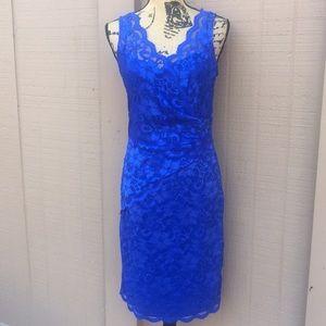 Sz 8 Marina Royal Blue Lace Faux Wrap Dress